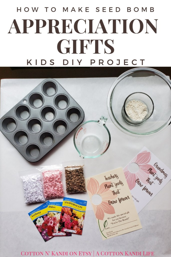 DIY Seed Bombs only require a few ingredients. They're simple, cheap and safe to use with young kids. If you're looking for a fun DIY Appreciation Gift to give Teachers or as a Mother's Day Gift, Here you go!