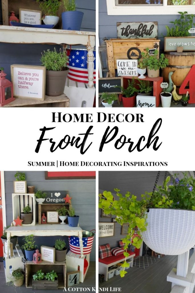 Front Porch Decorating Ideas for Summer. I love to use Rustic Crates, Perennial Porch Plants and Fly Repellent Plants. I also use Vintage Milk Glass as Succulent Planters and lots of Ferns!
