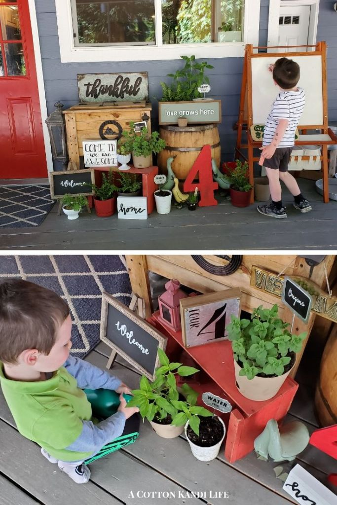 I use our Wrap Around Porch as a Summer Classroom where the boys spend a lot of their time. I Decorate it with plants, signs to read and interactive writing boards too. Summer Porch Decorating Ideas.