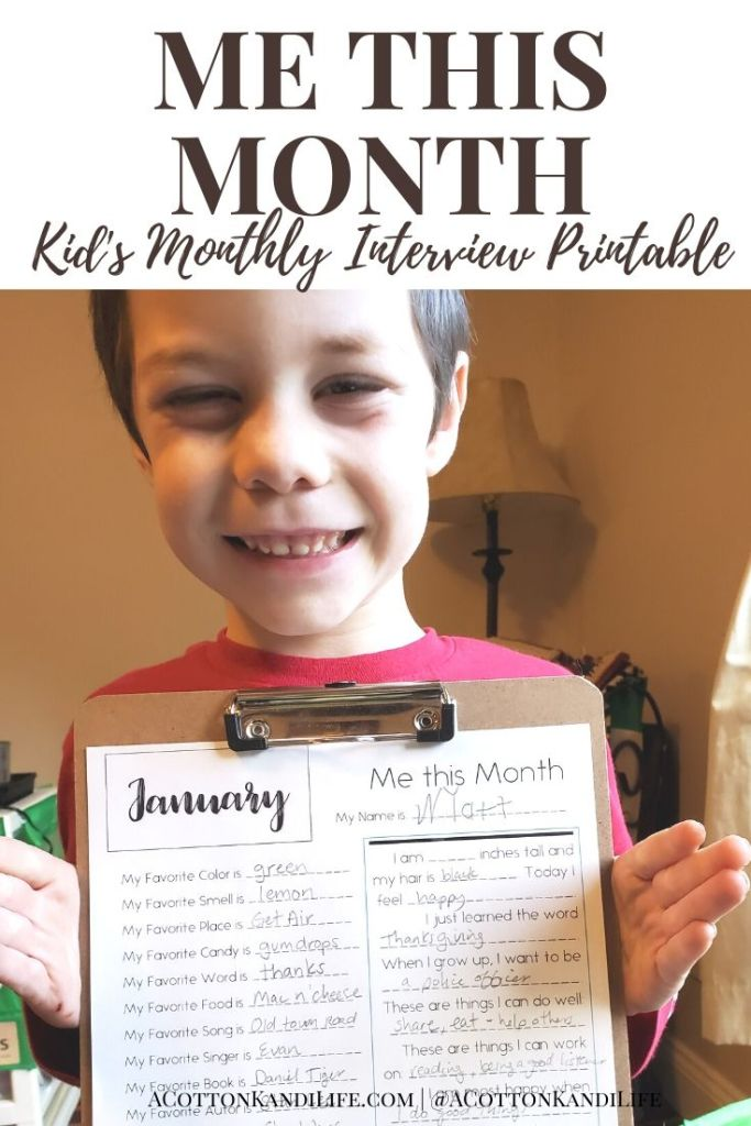 Looking for January Bucket List Ideas for Kids? How about a Monthly Interview? January Craft Projects can tie right into their favorite things. Plus this makes a great Indoor Winter Activity! Teachers can use this as a Classroom Bulletin Board for January too!  * Interview Kids on the 1st of every month to see how they grow and change throughout the year.