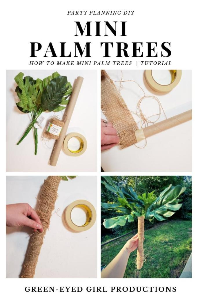 Make DIY Palm Tree Decorations for your Safari Birthday Party! I've put together the easiest DIY Tutorial for Upcycled Palm Tree Decorations using Cardboard Tubes and Burlap. You can find everything you need at Dollar Tree too!  * Safari Birthday Party Decorations. Jungle Baby Shower Ideas. ROAR VBS Theme Decorations. VBS Theme Ideas. Jungle Party Decorations. Dollar Tree Craft Projects.