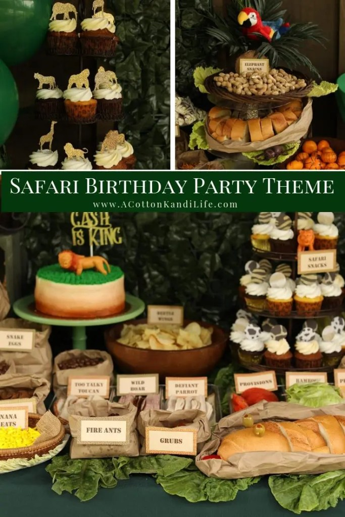 Let's get Wild with a Safari Birthday Party Buffet. Yes, I gave all of the food funny names that make a for a good pun. If you need a few Safari Party Food Names come on over.  * Safari Food Names. Jungle Food Names. Funny Names for Party Food.  Safari Food Snacks. Safari Themed Baby Shower Food. Safari Cupcake Toppers. Jungle Party Food Ideas
