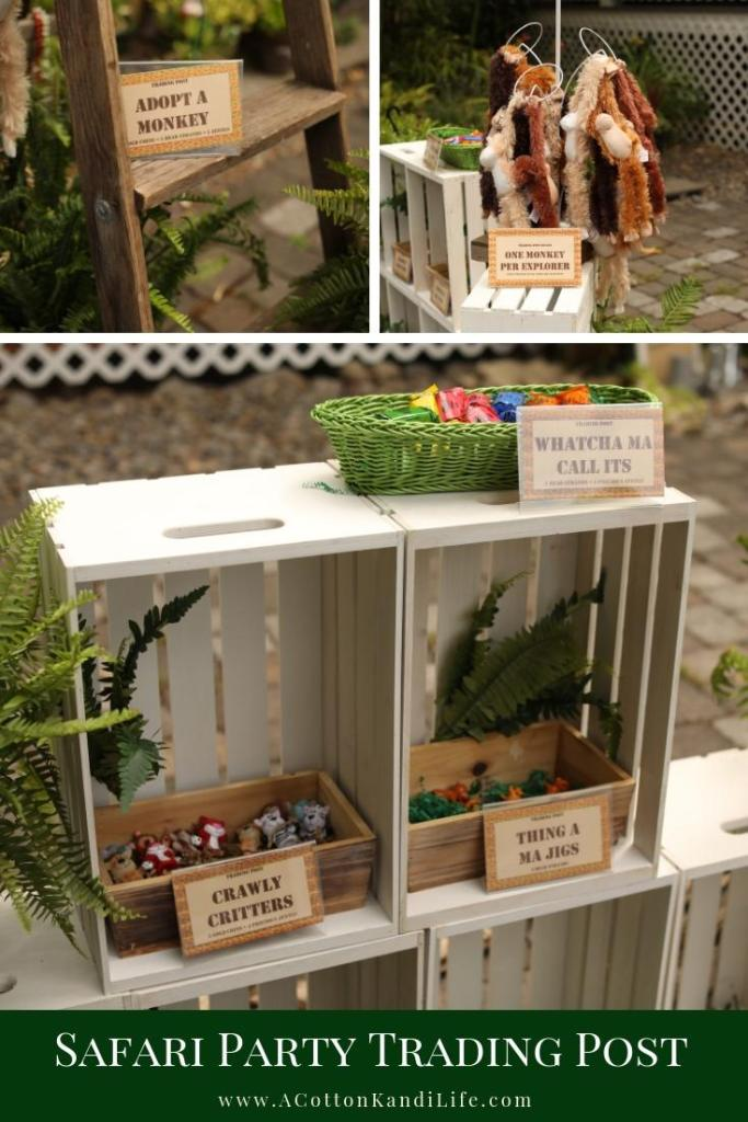 The Trading Post Station at our Safari Birthday Party was the highlight of our day. We used it as our Birthday Party Game for Prizes. If you're looking for Safari Birthday Party Games or Trading Post Ideas for Kids, this Safari Theme worked well. Kids could adopt a Monkey, Trade in Treasures from Sloth Sanctuary and more.  * Jungle Party Ideas. Safari Birthday Party Games. Sloth Party Ideas. Safari Theme Baby Shower Ideas. Kids Safari Party Ideas. Safari Party Favors. Safari Party Decorations.