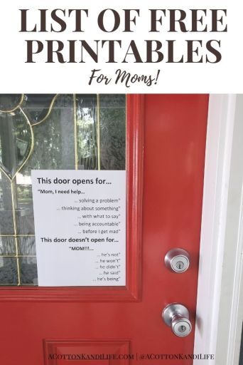 We moms need all the help we can get. Welcome to my list of FREE Printables for Moms. These are signs I use around my house for solving problems with Toddler Behavior, Organizing Small Systems and of course, Homeschool.  * Free Holiday Printables. Freebie Printable Signs, Daily Planning Charts