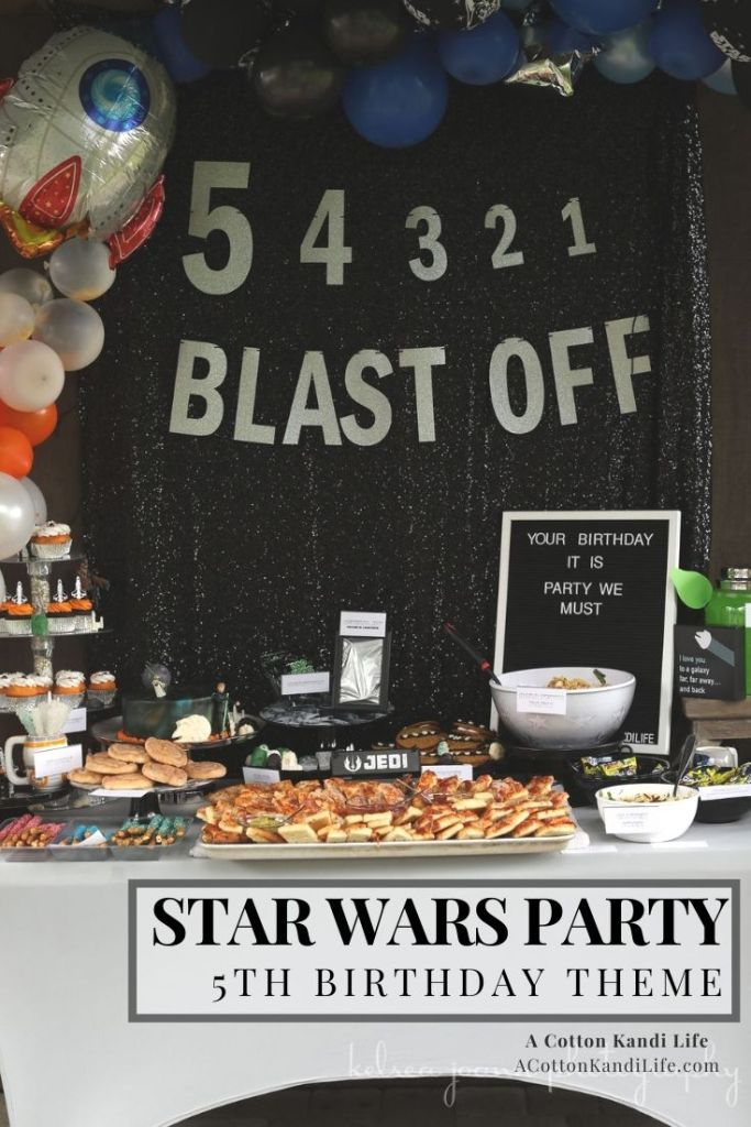 It's time to Blast Off with a 5th Birthday inspired by Star Wars! Wyatt became a huge Star Wars fan last year and requested this Rocketship Countdown Theme, Complete with Yoda Soda, Wookie Cookies, Rocket Blasters and Lightsaber Training! For all the Star Wars Food Ideas and Party Games for Kids, I've got the inspo!  How to Throw a Star Wars Party