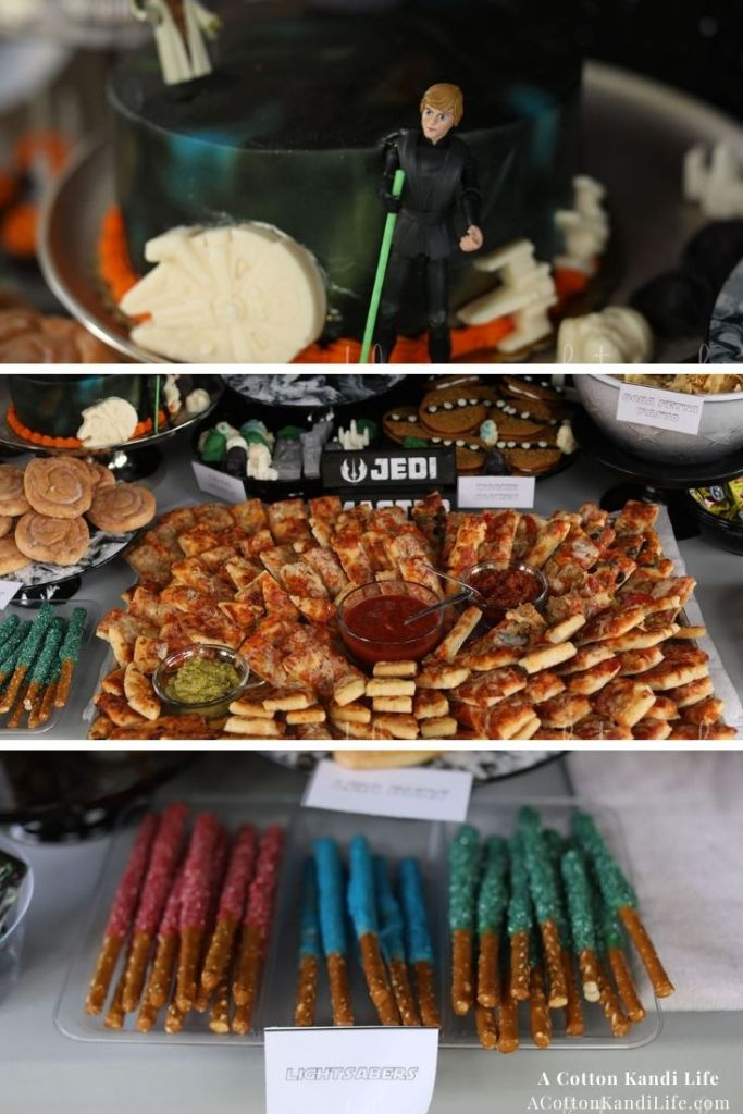 Lightsaber Pretzels, Pizza Charcuterie Sticks, and Luke Skywalker Cake. * Planning the Party Food might be my favorite part of every birthday. You can tell we had a lot of fun with this Star Wars Theme. You can find a lot of Inspirations and Party Ideas here too, but desserts, snacks and signature drinks are my favorite!