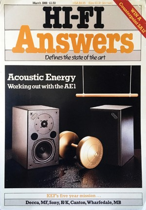 The first review of the Acoustic Energy AE1 appeared in the March edition of HiFi Answers magazine in 1988
