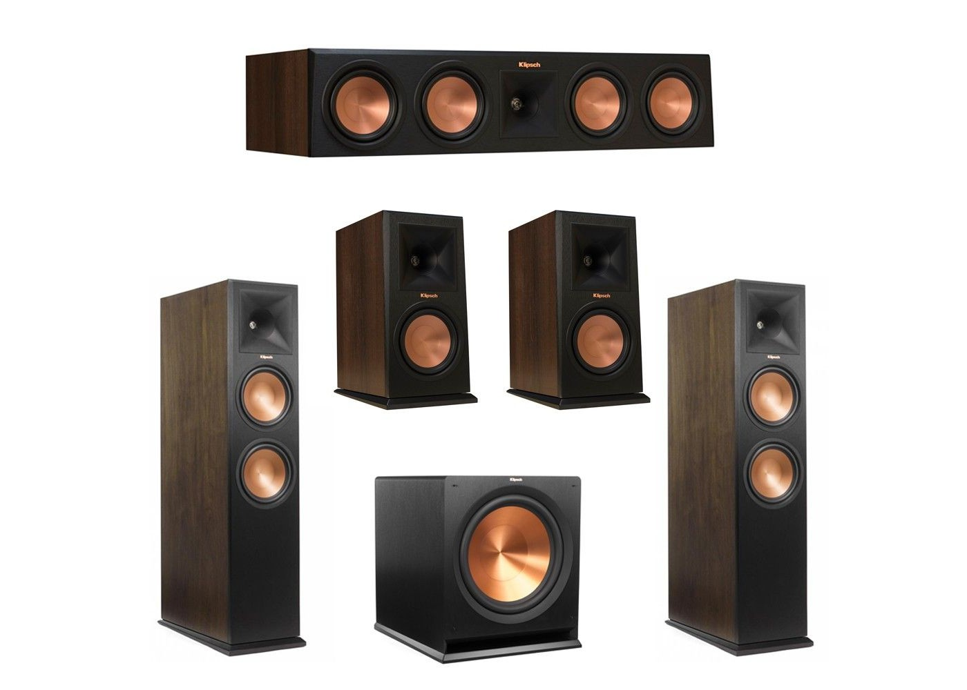 walnut 5.1 system with 2 rp-280fa tower speakers, 1 rp-450c center