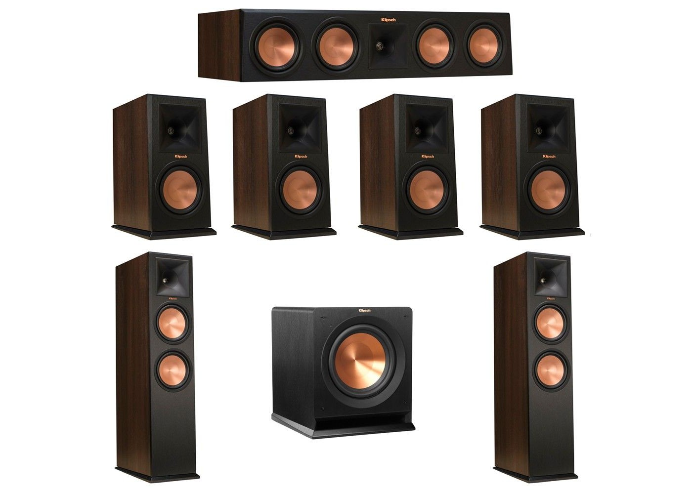 7.1 walnut system with 2 rp-280f tower speakers, 1 rp-450c center