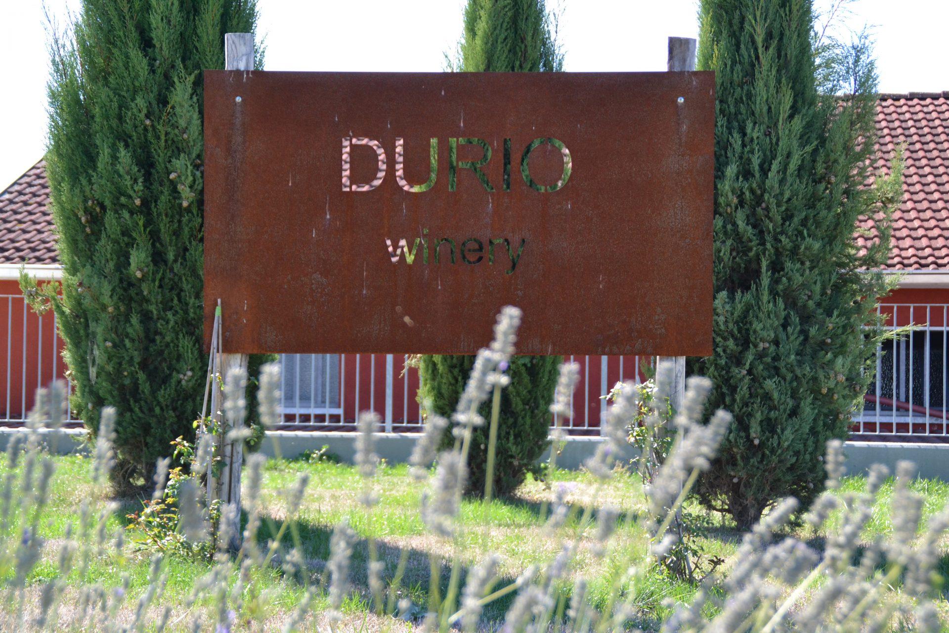 Ingang met roestig ijzeren welkomstbord bij Durio Wines in Agliano Terme