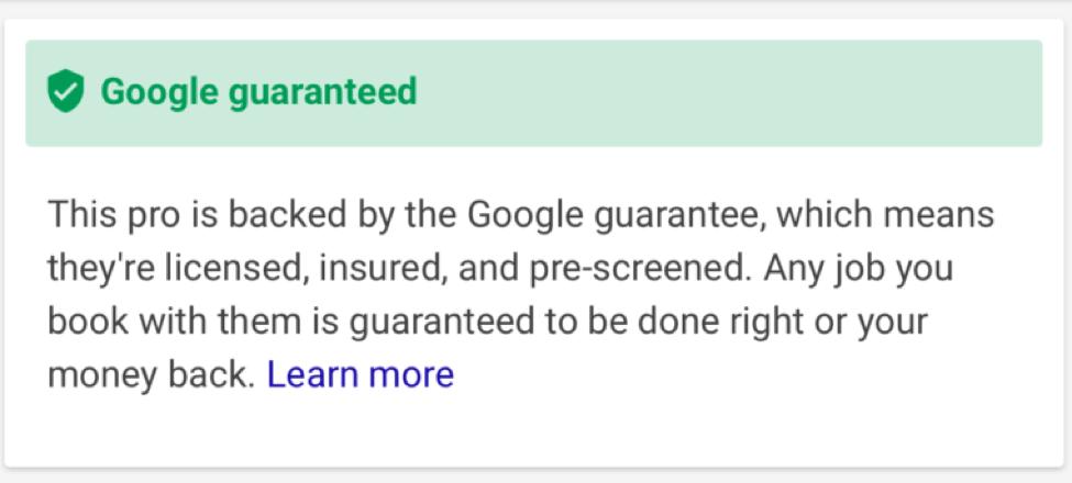 Google guaranteed screenshot