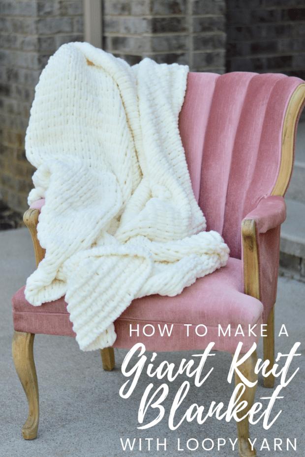 Easy Giant Knit Blanket Tutorial Loopy Yarn A Crafty Concept