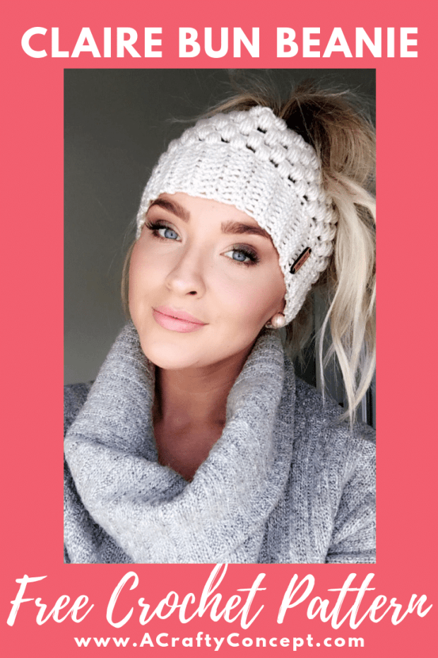 Free crochet pattern for the most popular messy bun beanie ever! Step by step tutorial with pics and video.