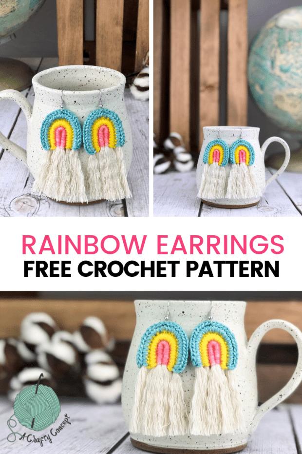Crochet Rainbow Earrings - Free Crochet Pattern by A Crafty Concept