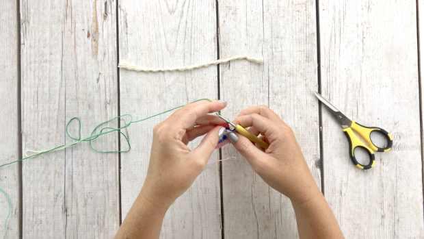 Step 8 for crochet rainbow earrings