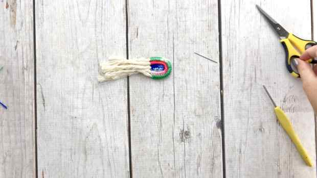 Step 18 for crochet rainbow earrings