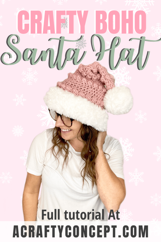Finally a crochet Santa hat you will actually WANT to wear! With it's trendy bobbled texture and faux fur brim, this crochet Santa hat will surely stand out in a crowd.