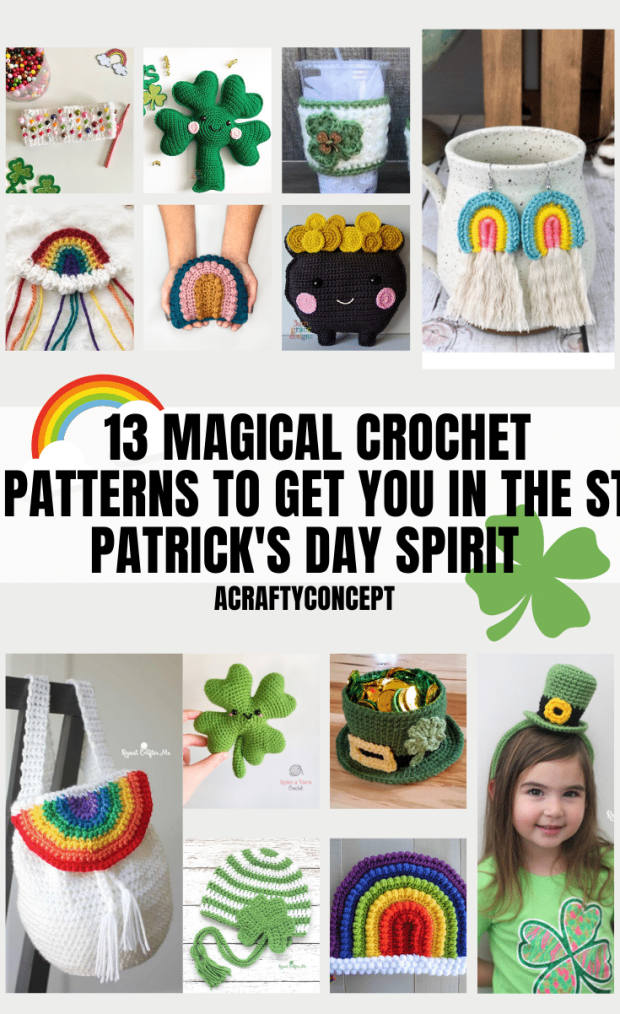 Feeling lucky?  Well, you ARE in luck because you have hit the pot o' gold at the end of the rainbow with this roundup post of THIRTEEN lucky (or unlucky?) crochet patterns to celebrate St. Patrick's Day!