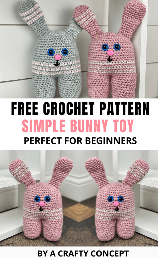 This basic Crochet Bunny Pattern is the perfect free amigurumi crochet pattern for beginners. Each step is explained in detail and there's a full video tutorial as well!