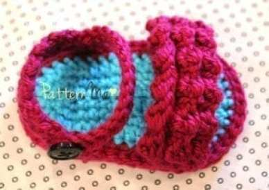 ruffled baby sandal - baby shoes crochet pattern - baby gift
