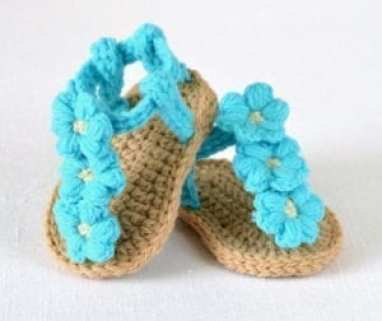 triple flowers baby sandal - baby shoes crochet pattern - baby gift
