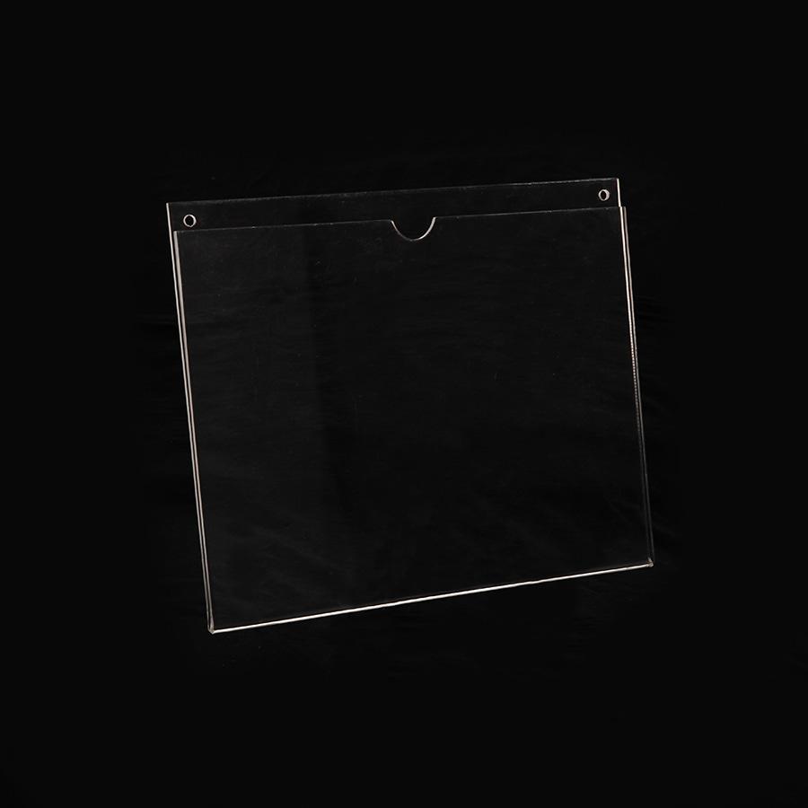 Porta hojas de acrílico tamaño carta horizontal con pestaña para poner en la pared.