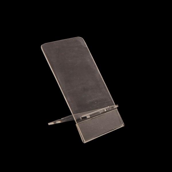 Practico porta celular de Acrílico con espacio para poner precio, ideal para exhibidores