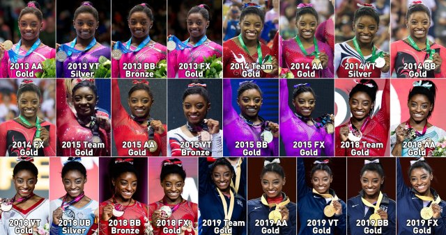 simone biles with her 25 world medals