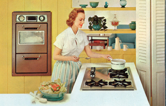Vintage Homemaker Cooking on the Stove