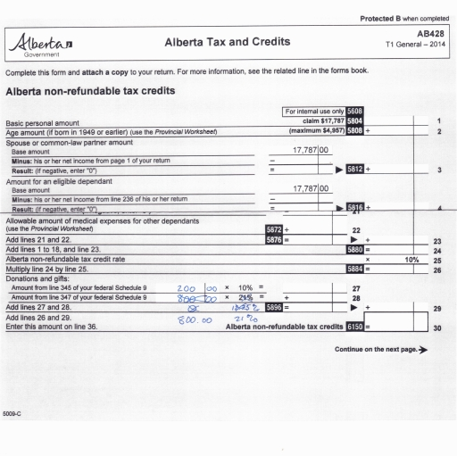 Alberta Tax Credit Form Edit