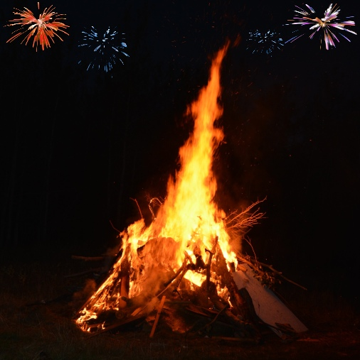 Bonfire With Fireworks