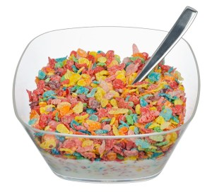 bowl of fruity pebbles cereal