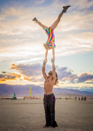 Standing Extended Hand-to-Hand at Burning Man 2015