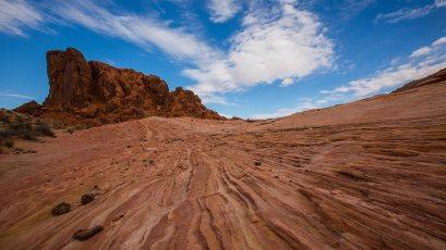 Jede Sandsteinschicht hat ihre individuelle Farbe.