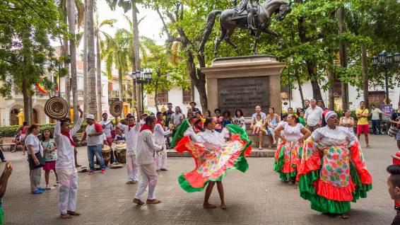 Strassenkünstler auf dem zentralen Platz von Cartagena.