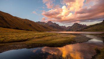 Sonnenuntergang in der Cordillera Blanca.