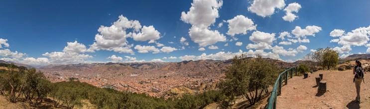 Schöne Aussicht von den Ruinen Sacsayhuaman über Cusco.