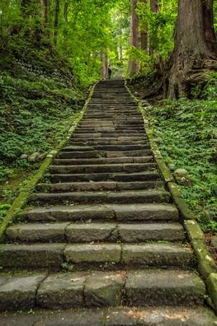 Frühmorgens erklimmen wir die 2446 Stufen.