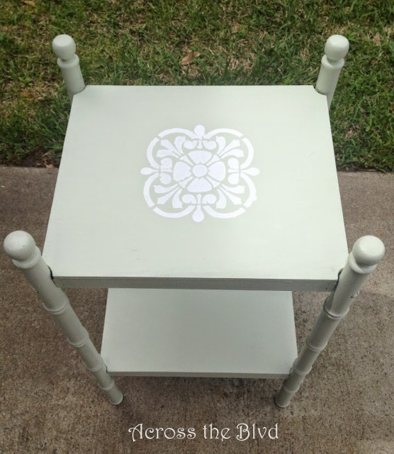 Side Table With Chalk Painted Stencil Pattern