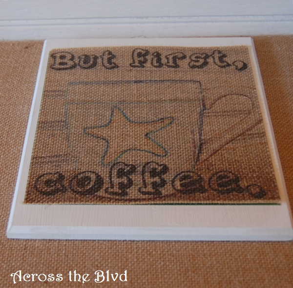 COFFEE PRINT ON BURLAP B