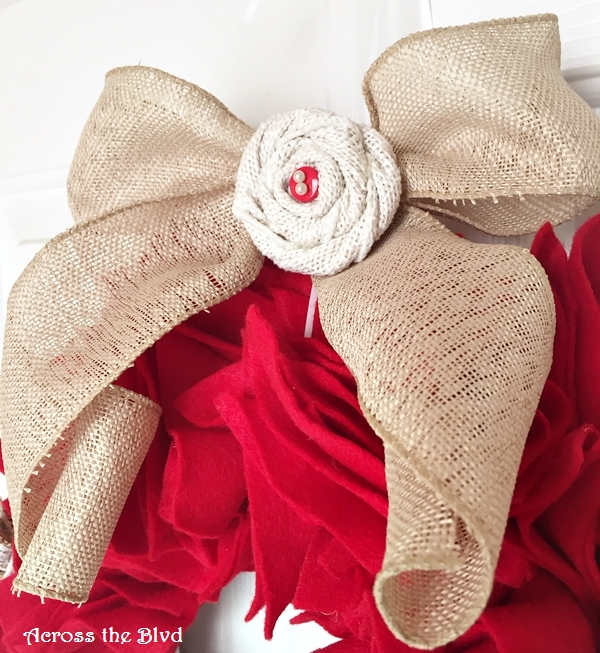burlap bow with rosette