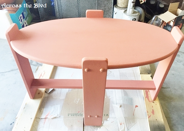 Side Table in Coral Chalk Paint Across the Blvd