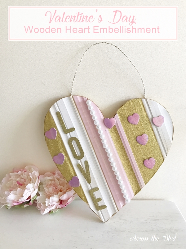 Valentine's Day Embellished Wooden Heart