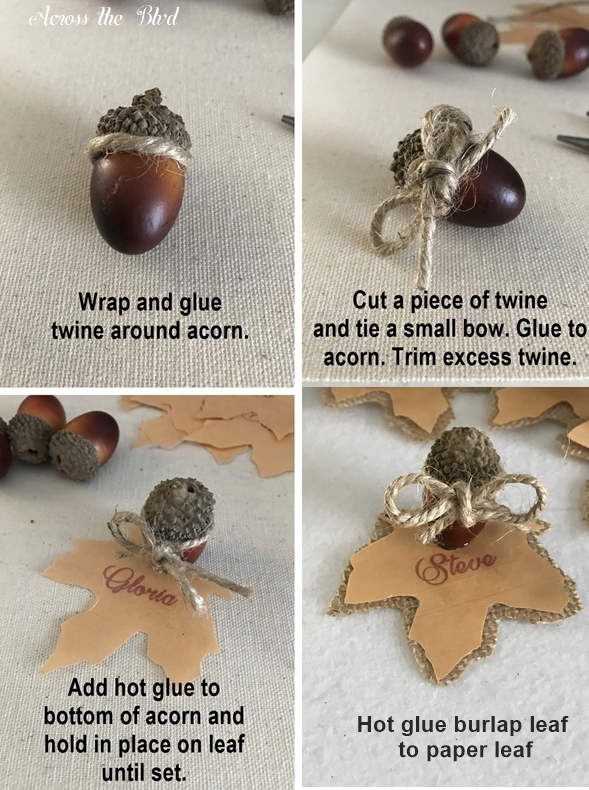 Thanksgiving Table Setting With DIY Place Cards Acorn and Leafs