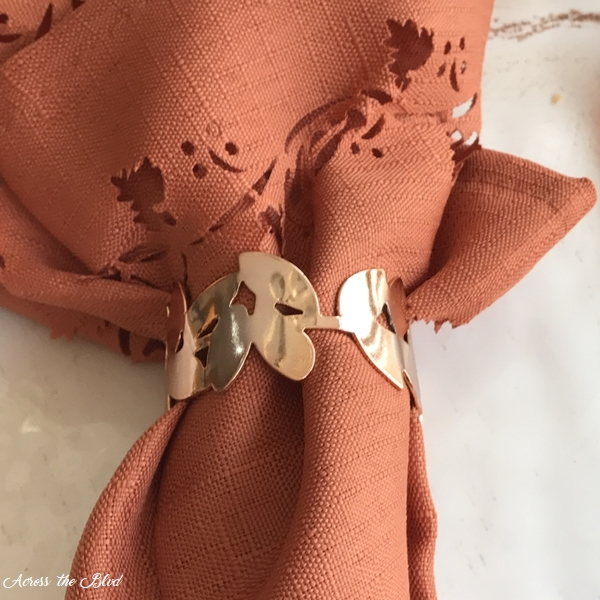 Casual Fall Tablescape With Copper Accents napkin rings