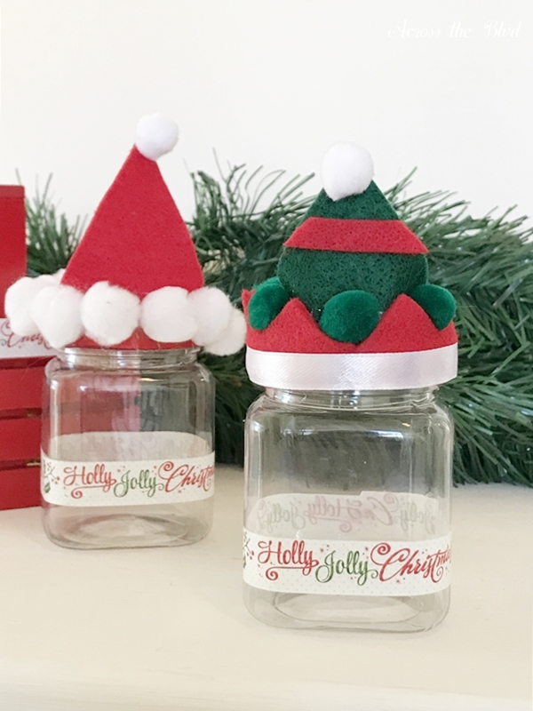 Elf and Santa Hat Candy Jars tape