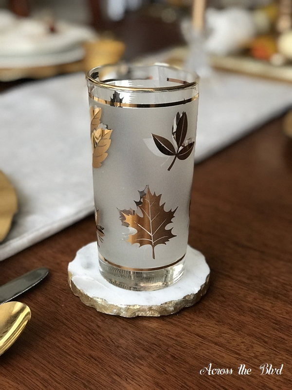 Thanksgiving Table Setting With DIY Place Cards gold leaf glass