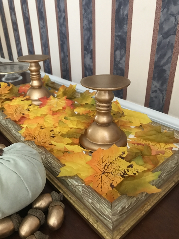 Simple & Budget Friendly Fall Decor Leaves and Candle Holders