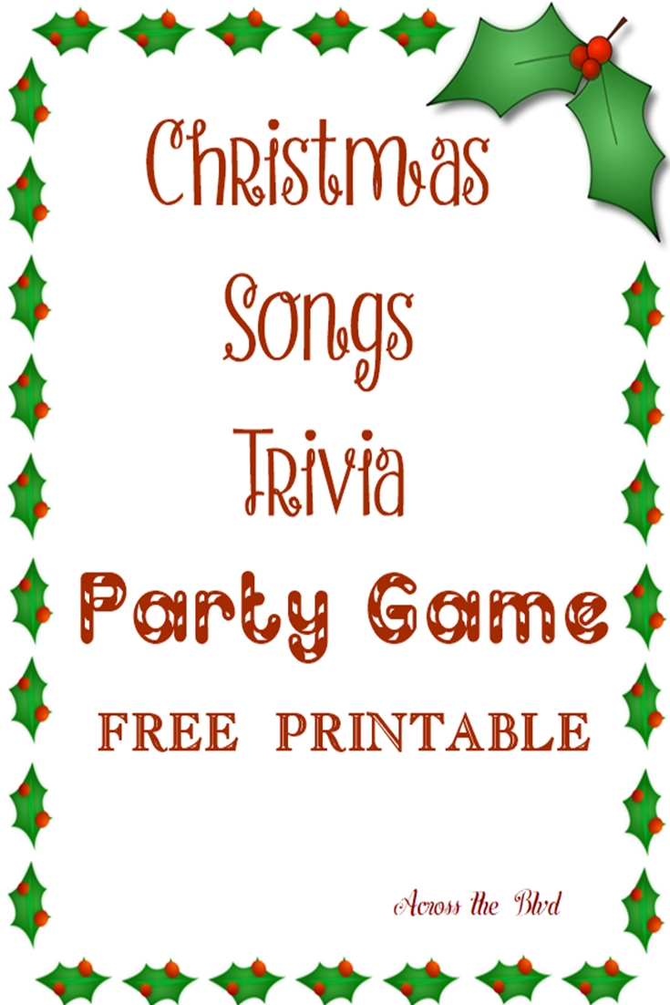 Christmas Song Trivia Party Game Across the Blvd