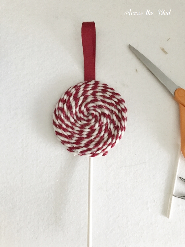 Yarn Lollipop Christmas Ornament front2